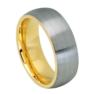 8mm Tungsten Carbide Ring Domed Yellow Gold IP Plated Inside & Gun Metal Brushed Center