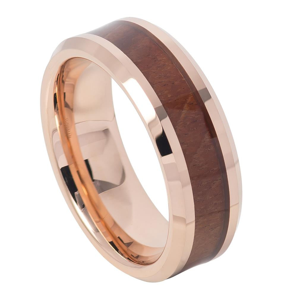 8mm Tungsten Carbide Ring Rose Gold IP Plated with Hawaiian Koa Wood Inlay