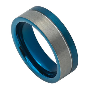8mm Off-Center Grooved Blue IP Plated Brushed Pipe Cut Tungsten Carbide Ring