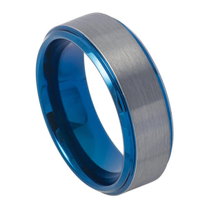 8mm Tungsten Ring Blue IP Plated Beveled Edge & Gun Metal Brushed Finish
