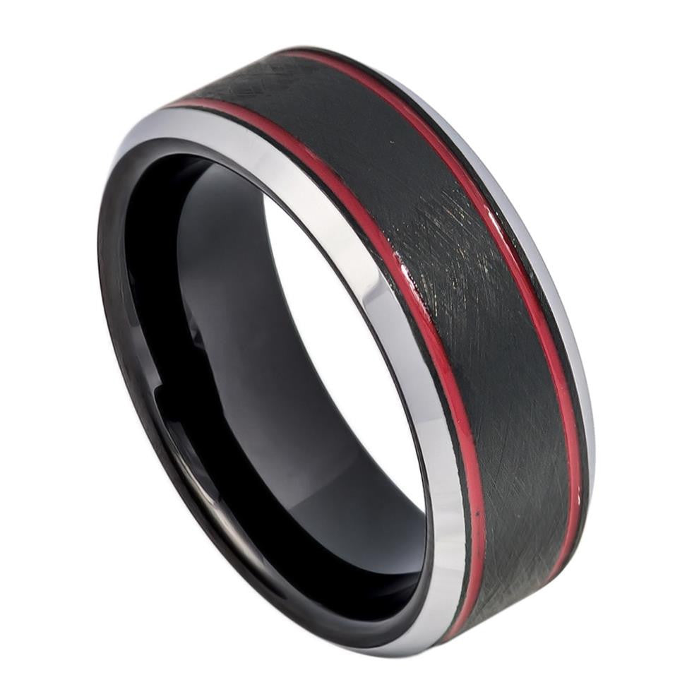 8mm Tungsten Ring Charcoal Gray IP Plated Ice Finish with 2 Red Stripes on 2 sides