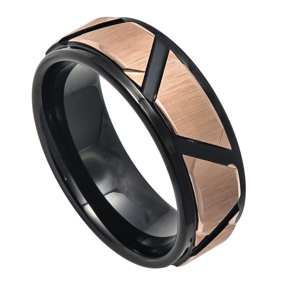 8mm Rose Gold IP Brushed Tungsten Carbide Ring with Black IP Trapezoid Grooves