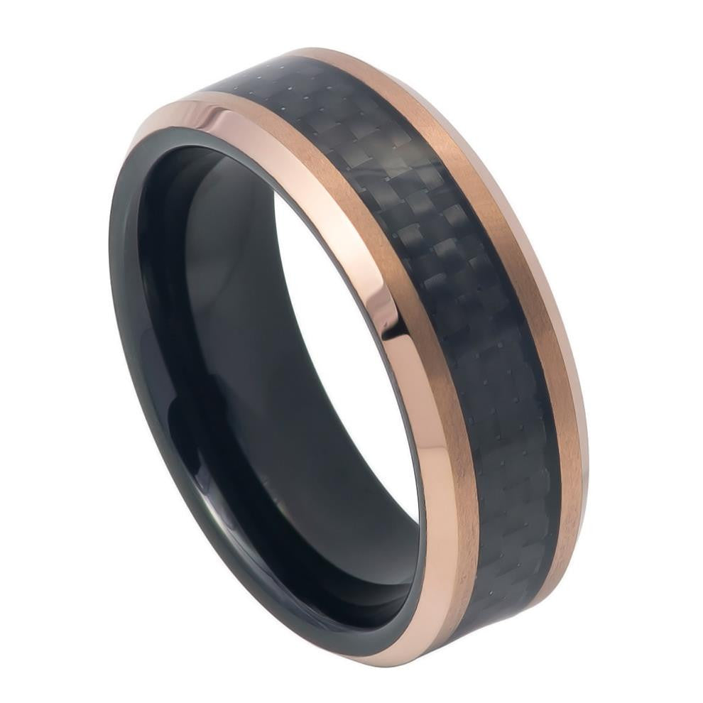 8mm Tungsten Ring Black IP Inside Rose Gold IP Finish Black Carbon Fiber Inlay