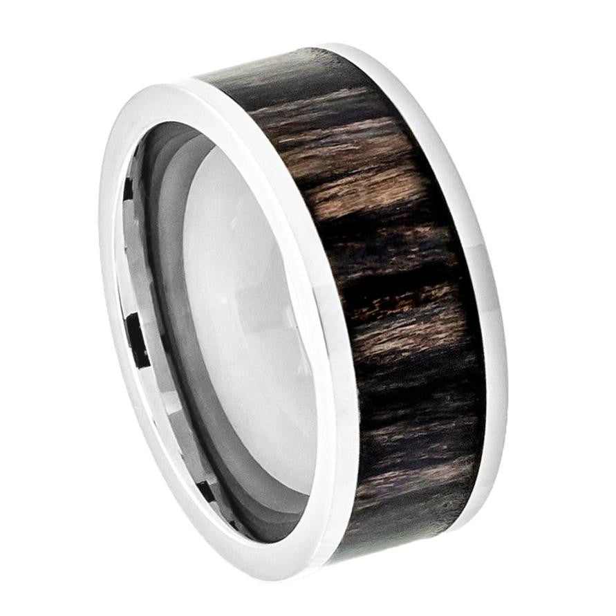 9mm Titanium Ring Pipe Cut Wedding Band with African Blackwood Inlay