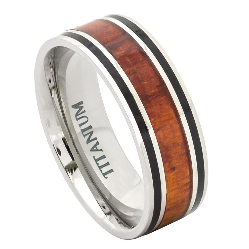 8mm Flat Titanium Wedding Ring with Hawaiian Koa Rosewood Inlay