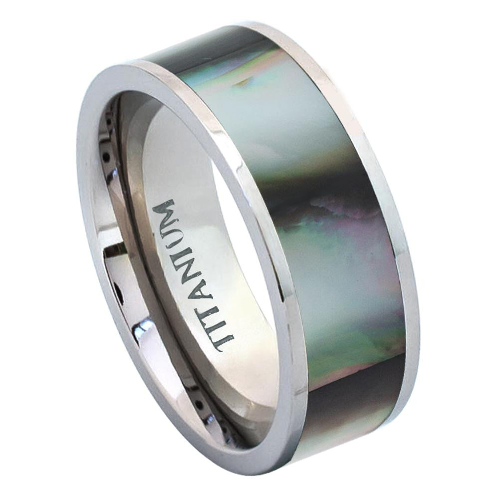 8mm Titanium Ring Pipe Cut with Black Gradient Abalone Inlay