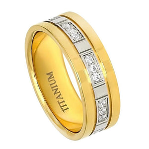 8mm Titanium Wedding Ring High Polished Yellow Gold Plated with 24 CZs