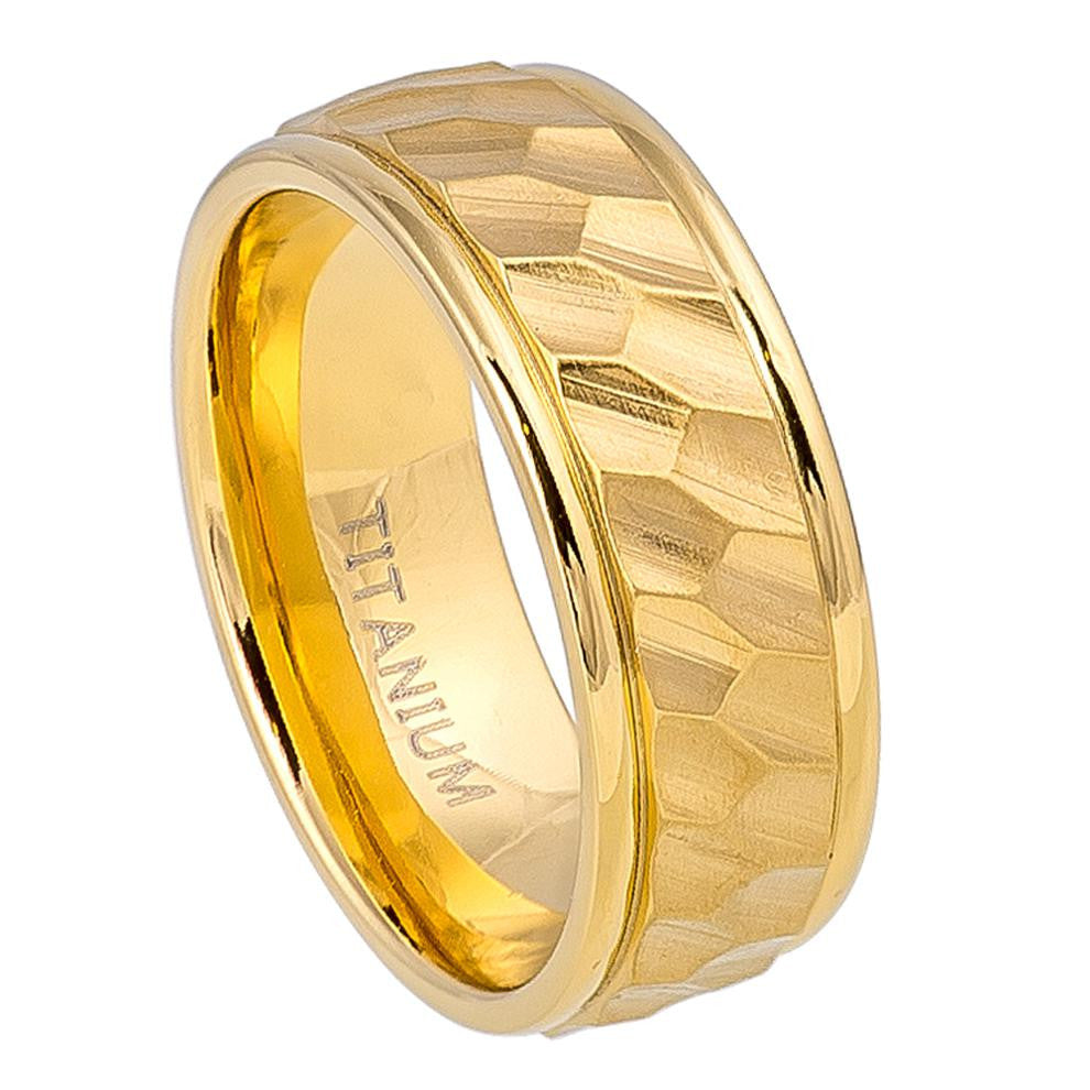 8mm Yellow Gold IP Titanium Ring with Hexagon Carved Design on Brushed Center