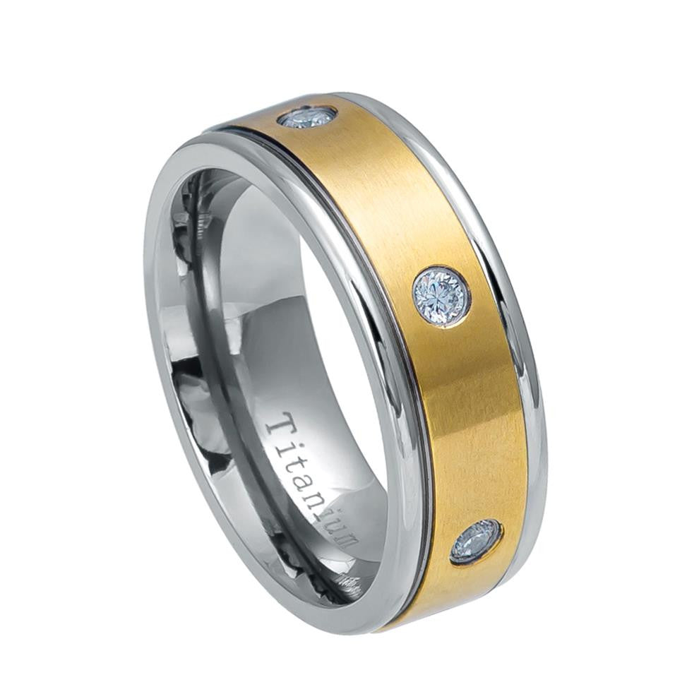 8mm Titanium Wedding Band Two-tone Yellow IP Plated Titanium Ring with Six White CZs