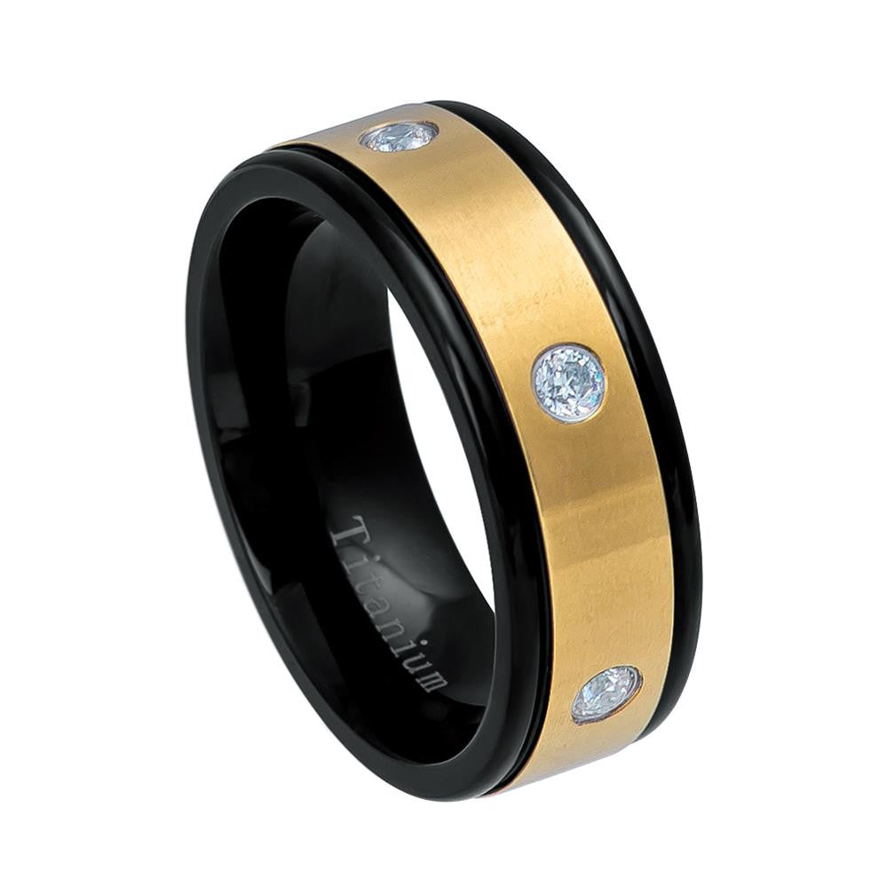 8mm Black Titanium Ring Two-tone Yellow IP Plated with Six White CZs