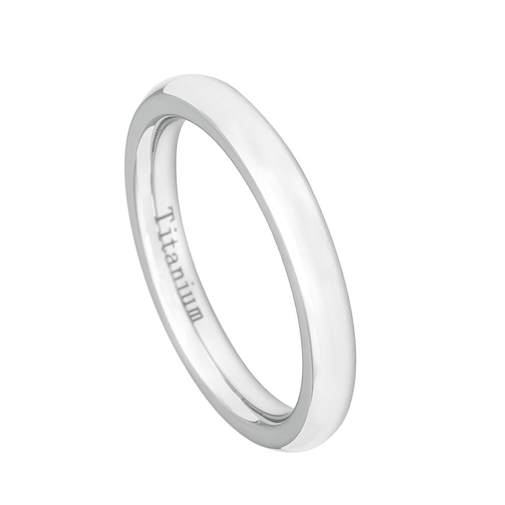 3mm White IP Plated Titanium Wedding Band Domed Ring for Women
