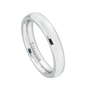 4mm White IP Plated Titanium Wedding Band Domed Ring for Women