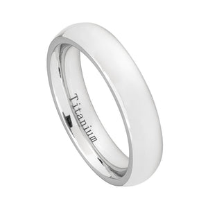5mm White IP Plated Titanium Wedding Band Domed Ring for Women