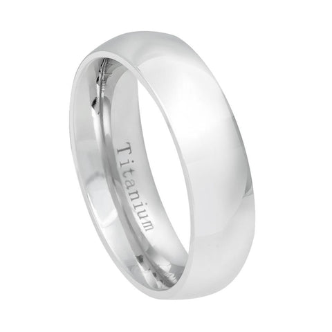 6mm White IP Plated Titanium Wedding Band Domed Ring for Women