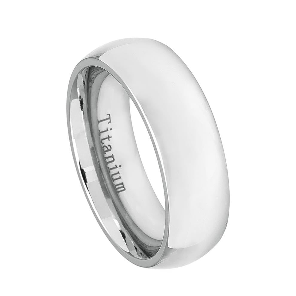 7mm White IP Plated Titanium Wedding Band Domed Ring