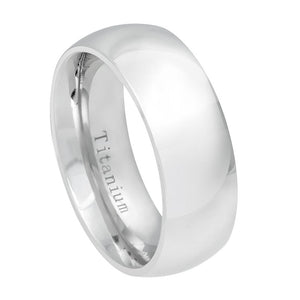 8mm White IP Plated Titanium Wedding Band Domed Ring