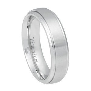 6mm Flat White IP Titanium Ring Brushed Center Shiny Step Edge