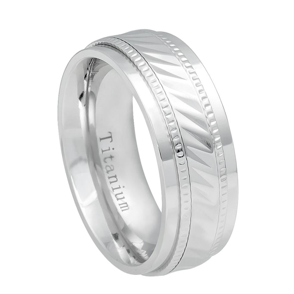 8mm Titanium Wedding Band White IP Plated Notched Center Milgrain