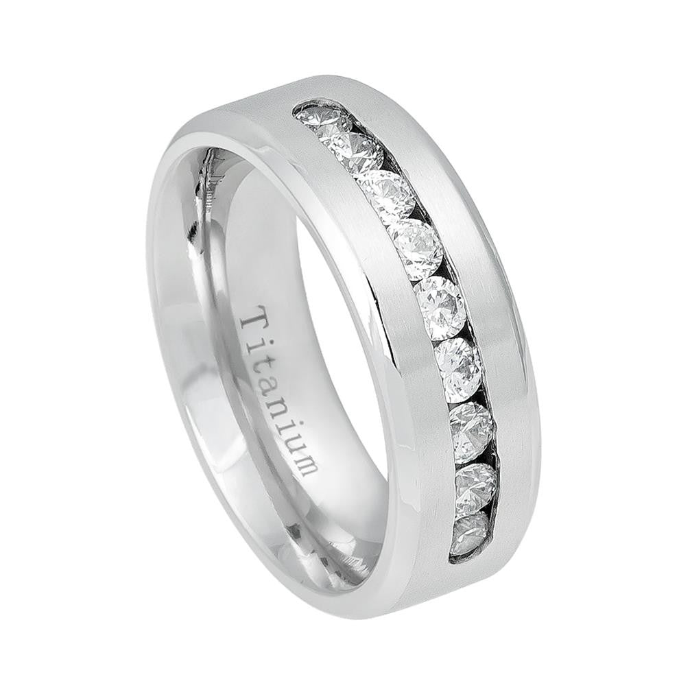 8mm Titanium Ring with 9 Channel-set CZs