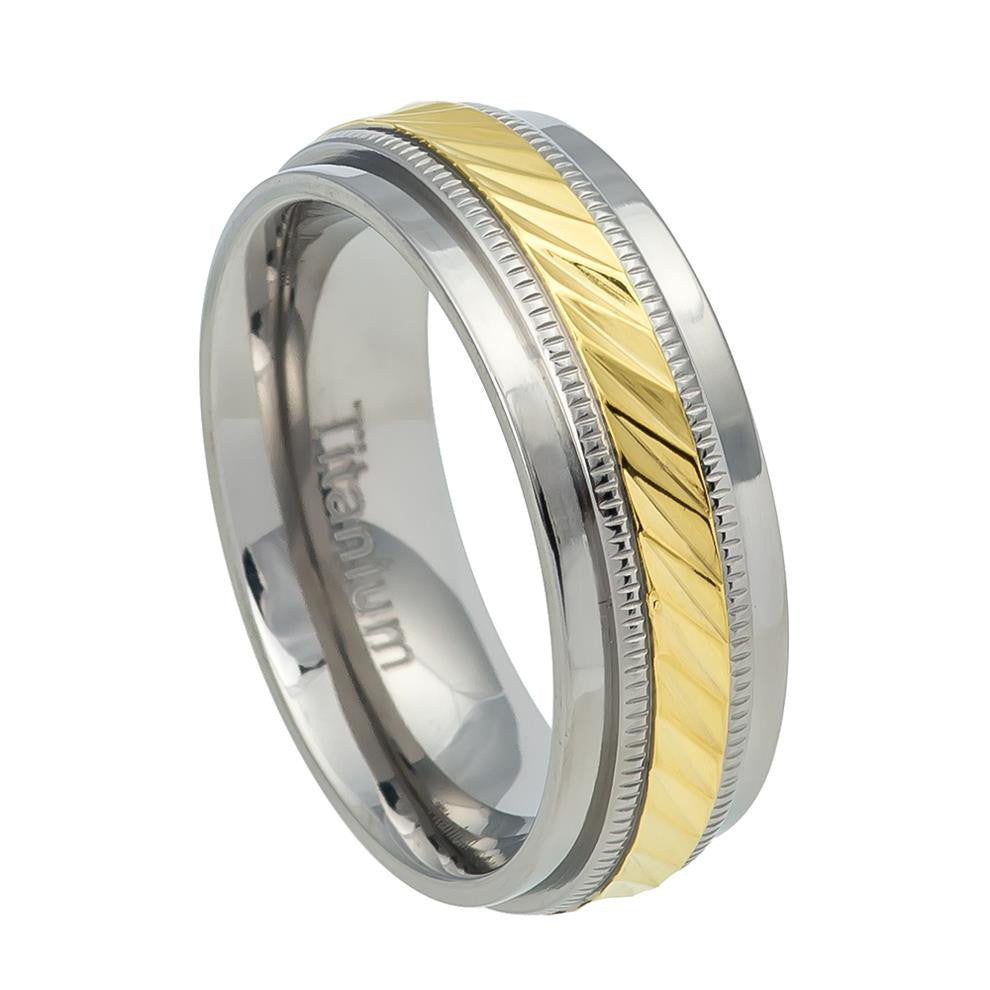 7.5mm Titanium Wedding Ring Notched Center with Milgrain