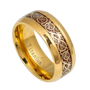 9mm Gold IP Titanium Ring with Gold IP Celtic Design Over Rosewood Inlay