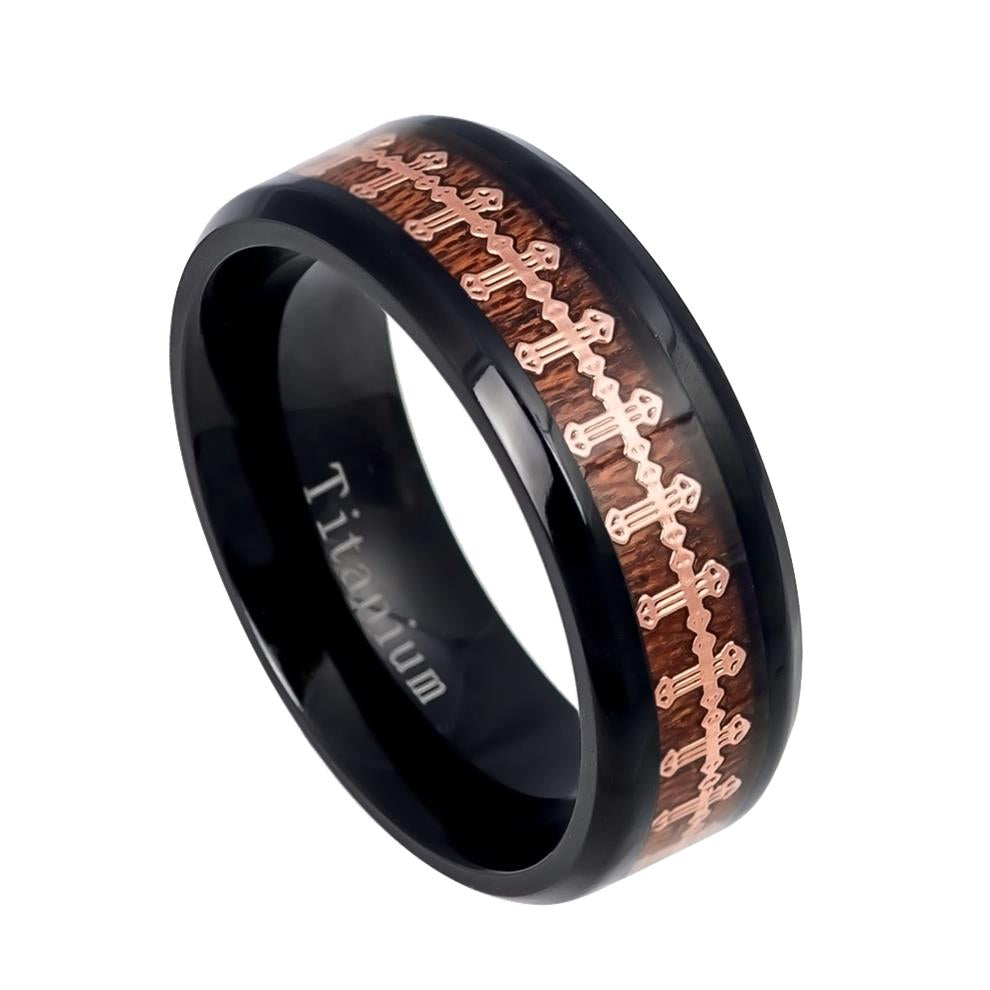 8mm Black IP Titanium Ring with Cross over Rosewood Inlay
