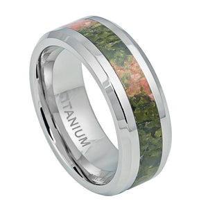 8mm Titanium Ring with Orange & Green Riverstone Inlay