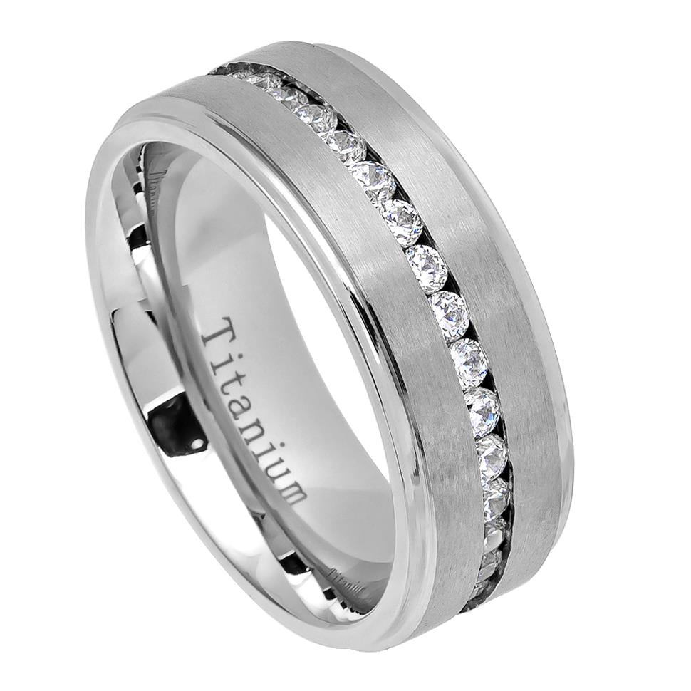 White IP Titanium Ring Brushed Center Shiny Step Edge with Eternity Style CZs