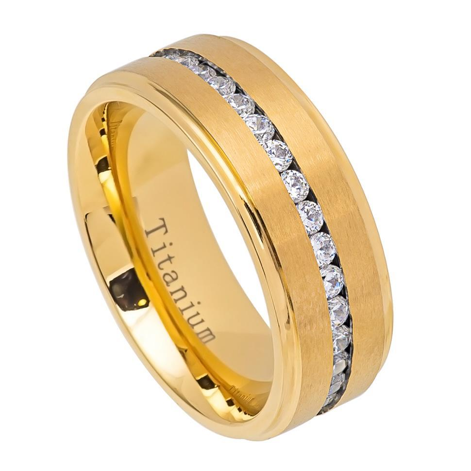 Yellow Gold IP Titanium Ring Brushed Center Shiny Step Edge with Eternity Style CZs