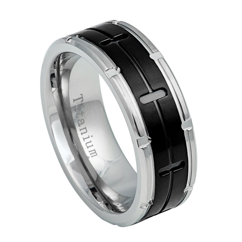 8mm Grooved Black IP Center Titanium Ring with Titanium Color Notched Edges