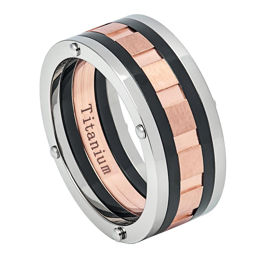 8mm Multi-Grooved Three-tone Titanium Ring Rose Gold IP & Black IP Ring