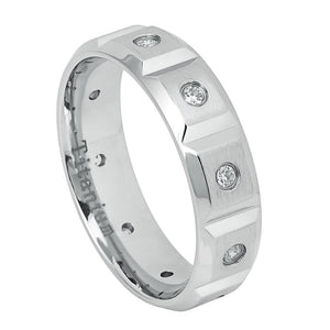 6mm White IP Titanium Ring Brushed Center with Notches and 10 CZs