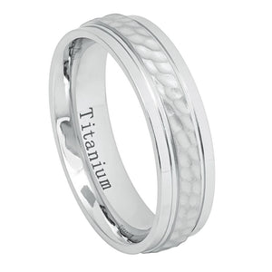 6mm White IP Titanium Band Brushed Dimpled Center High Polished Stepped Edges