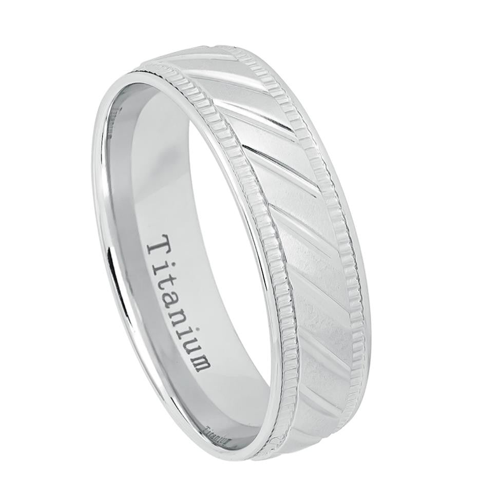 6mm Titanium Wedding Band Ring White IP Plated Notched Center & 2 sided Milgrain