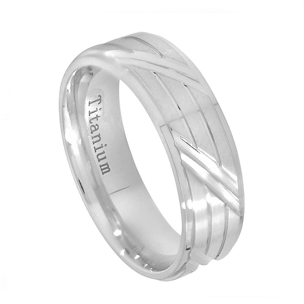 7.5mm Titanium Wedding Band Ring White IP Plated Brushed with Horizontal & Diagonal Cuts