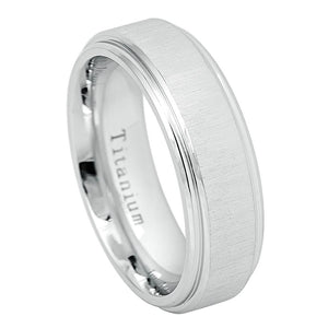 7mm Flat White IP Titanium Ring Frosted Brushed Center High Polished Step Edge