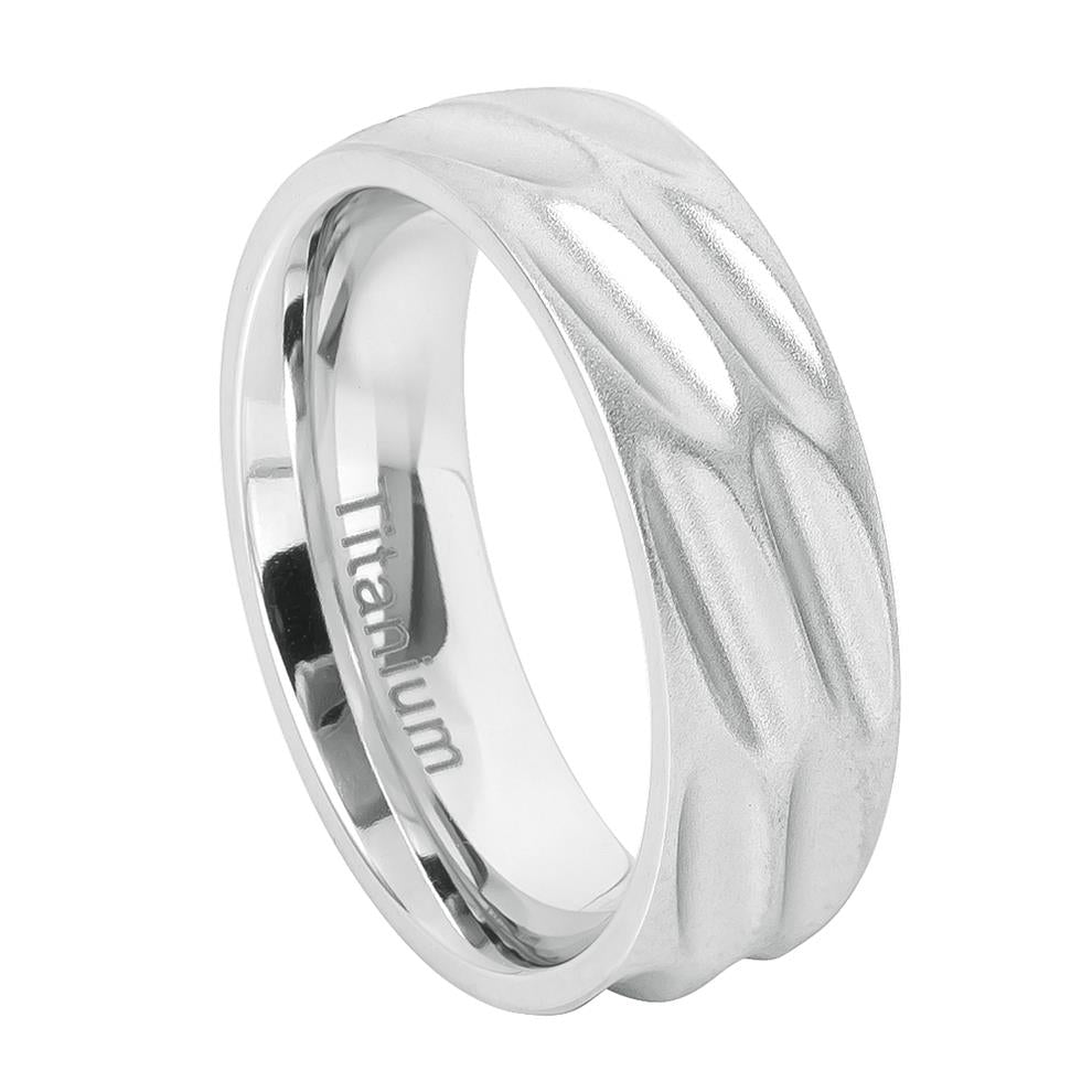 8mm White Titanium Brushed Flat Scooped Design Ring