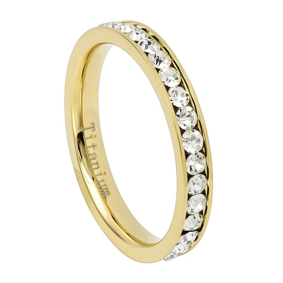 3mm Gold IP Plated Titanium Eternity Ring with CZs