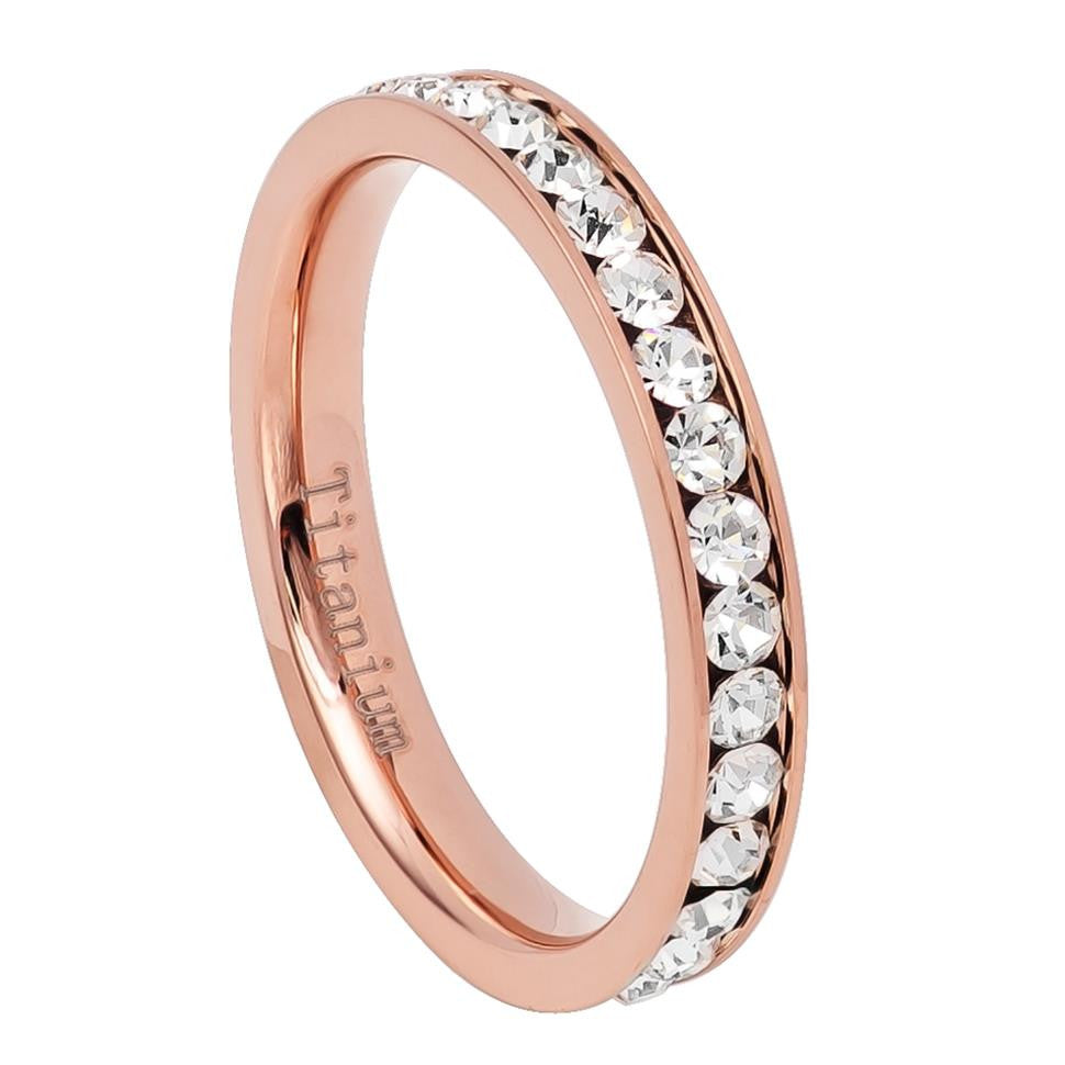 3mm Rose Gold IP Plated Titanium Eternity Ring with CZs