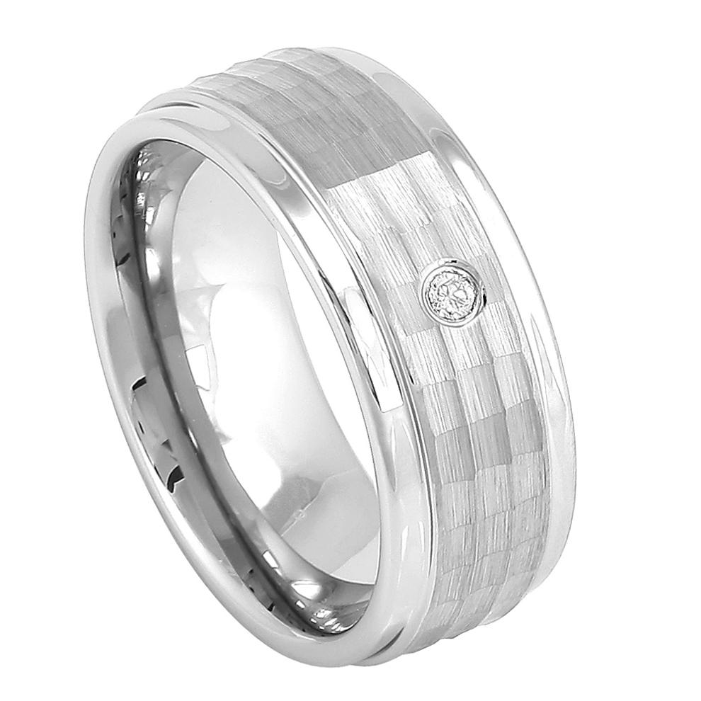 Cobalt Wedding Ring Brushed Hammered Finish and Bezel-set White Diamond