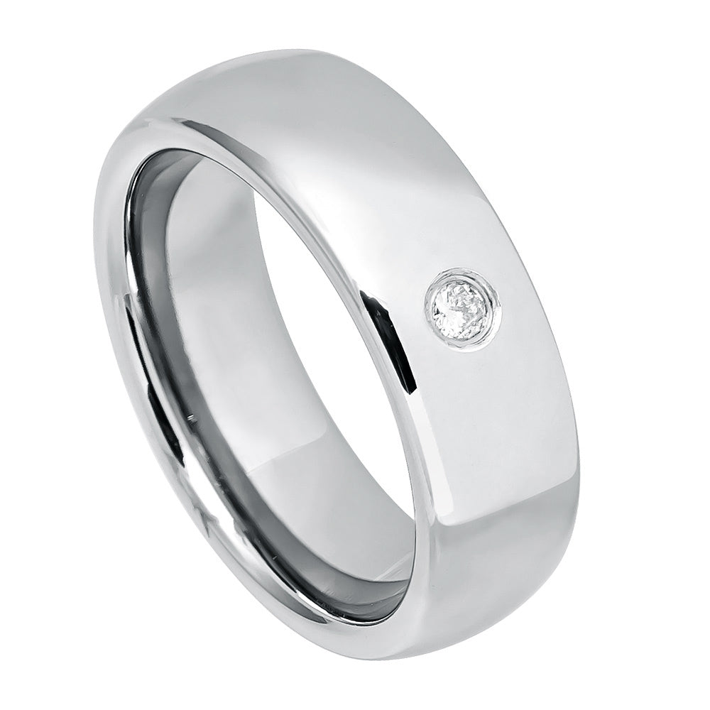 8mm Tungsten Ring with 0.07ct White Diamond Stone on High Polish Center