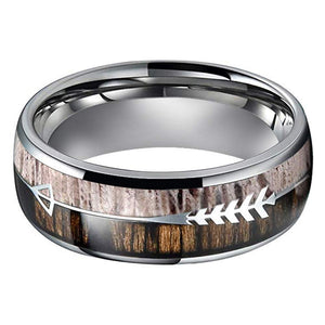 8mm Domed Tungsten Carbide Ring with Real Deer Antler Inlay