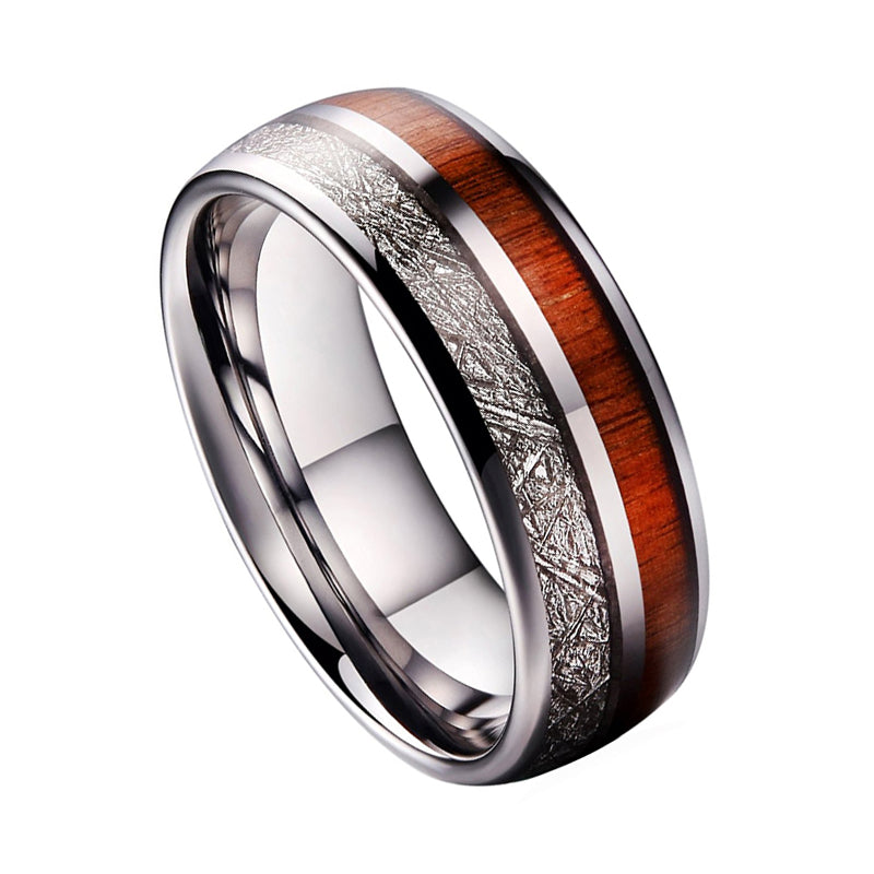 Tungsten Carbide Wedding Band Ring Domed With Wood And Meteorite Inlays