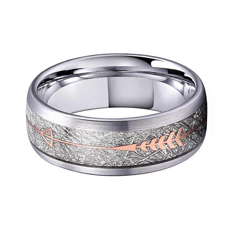 Tungsten Wedding Band With Rose Gold Steel Arrow And White Meteorite Inlays