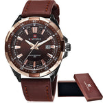 NAVIFORCE Men's Casual Quartz Watch Genuine Leather Strap Analog Date