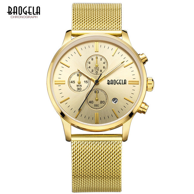 BAOGELA Men's Chronograph Quartz Watches with Stainless Steel Mesh Strap