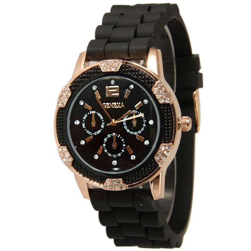 JECKSION Geneva Watch Women Dress Watch Quartz 22cm Silicone GOLD watches Unisex Wristwatch Sports