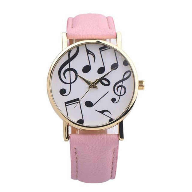 Women  Watches with Musical Notes and PU Leather Band