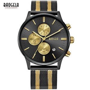BAOGELA Chronograph Men's Quartz-Watch with Stainless Steel Mesh Band