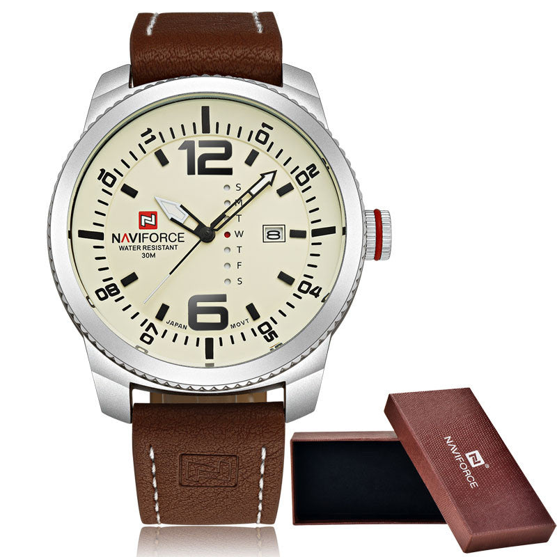 NAVIFORCE Date Quartz Men's Casual Military Sports Watch Leather Wrist Watch